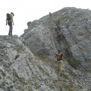 The crew takes on a nearby peak while I tend camp.